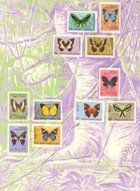 """Papua Neuguinea 1966 """"First Day Souvenir Card"""" Schmetterlinge Briefmarken"""