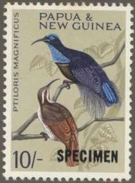 Briefmarke Papua Neuguinea Michel Nr 72 Aufdruck SPECIMEN Paradiesvogel